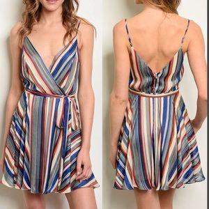 Dresses & Skirts - NWT $50 Silk Striped Wrap Mini Dress